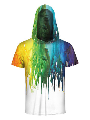 Hooded Men Multi-Color Printed T-Shirt