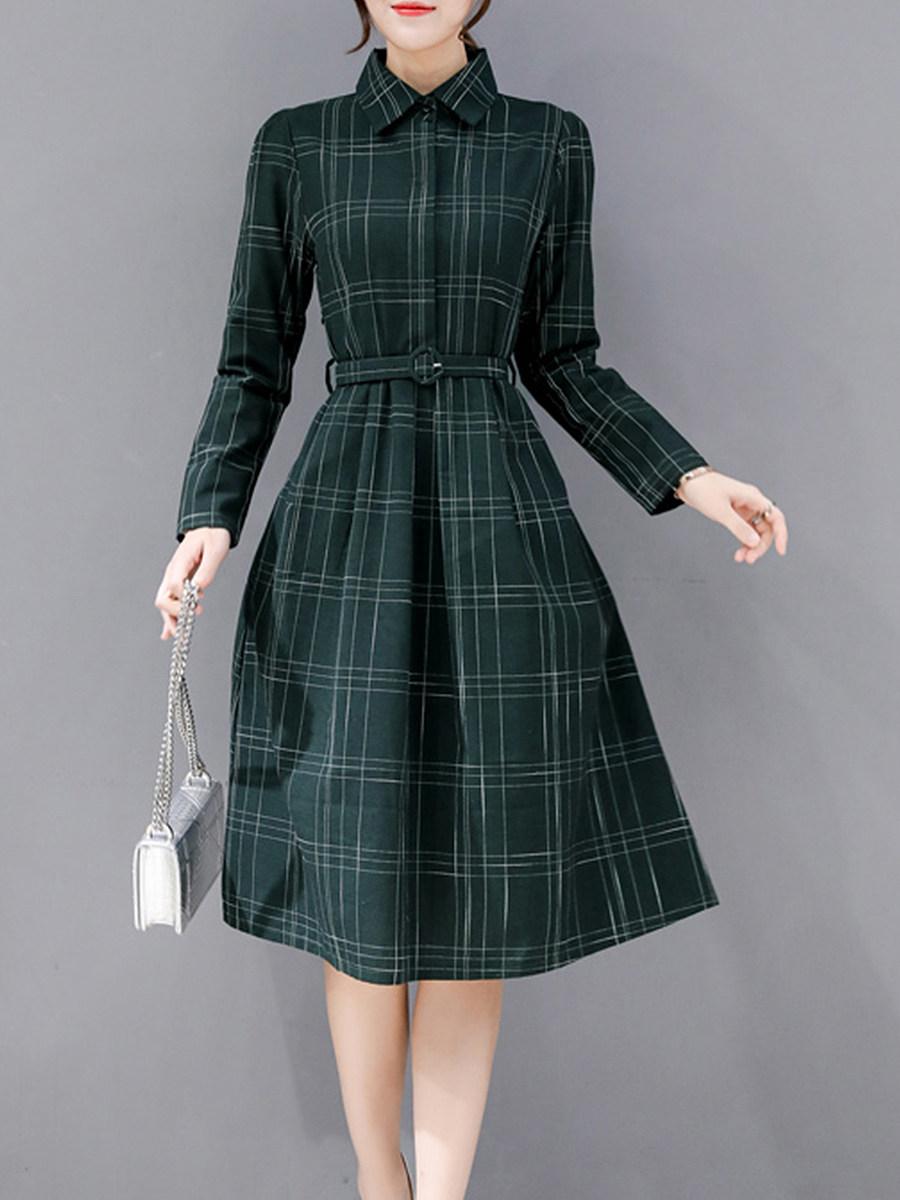 Fold Over Collar Checkered Skater Dress
