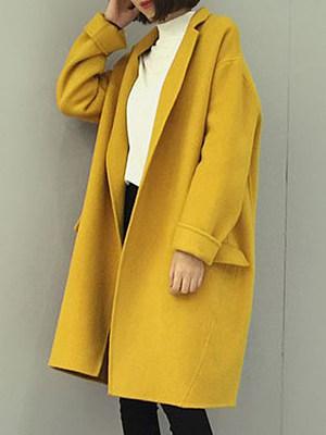 Notch Lapel  Plain Outerwear
