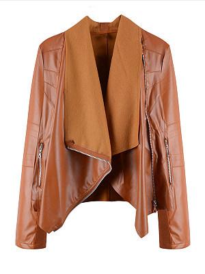 Fold-Over Collar Plain Jacket фото