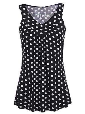 Berrylook V Neck Patchwork Dot Sleeveless T-Shirts online, cheap online stores,