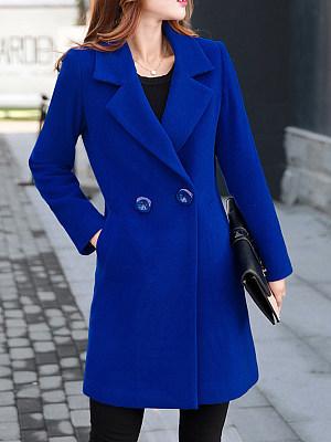Lapel  Double Breasted Slit Pocket  Plain Coats