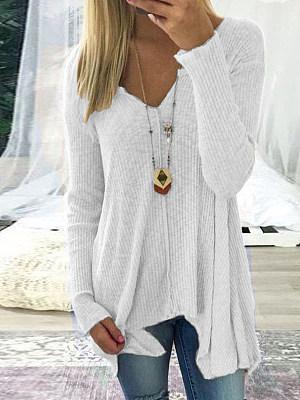 V-Neck Asymmetric Hem Plain Long Sleeve T-Shirts, 5287607