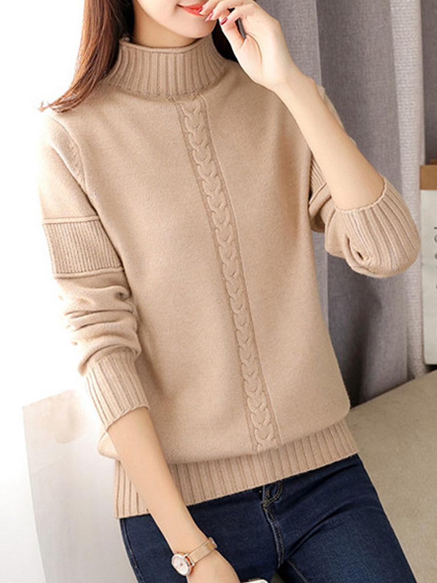BerryLook Short High Collar  Patchwork  Brief  Plain  Long Sleeve  Knit Pullover