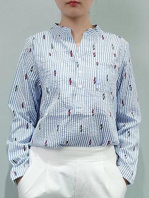 Autumn Spring Cotton Women V-Neck Long Sleeve Blouses