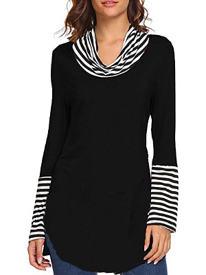 Heap Collar Patchwork Casual Striped Long Sleeve T-Shirt, 8498872