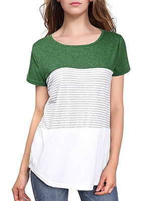 Round Neck Loose Fitting Patchwork Stripes Short Sleeve T-Shirts, 6507769