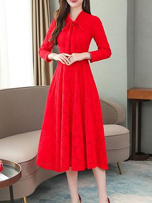 Tie Collar Plain Maxi Dress, 8917000