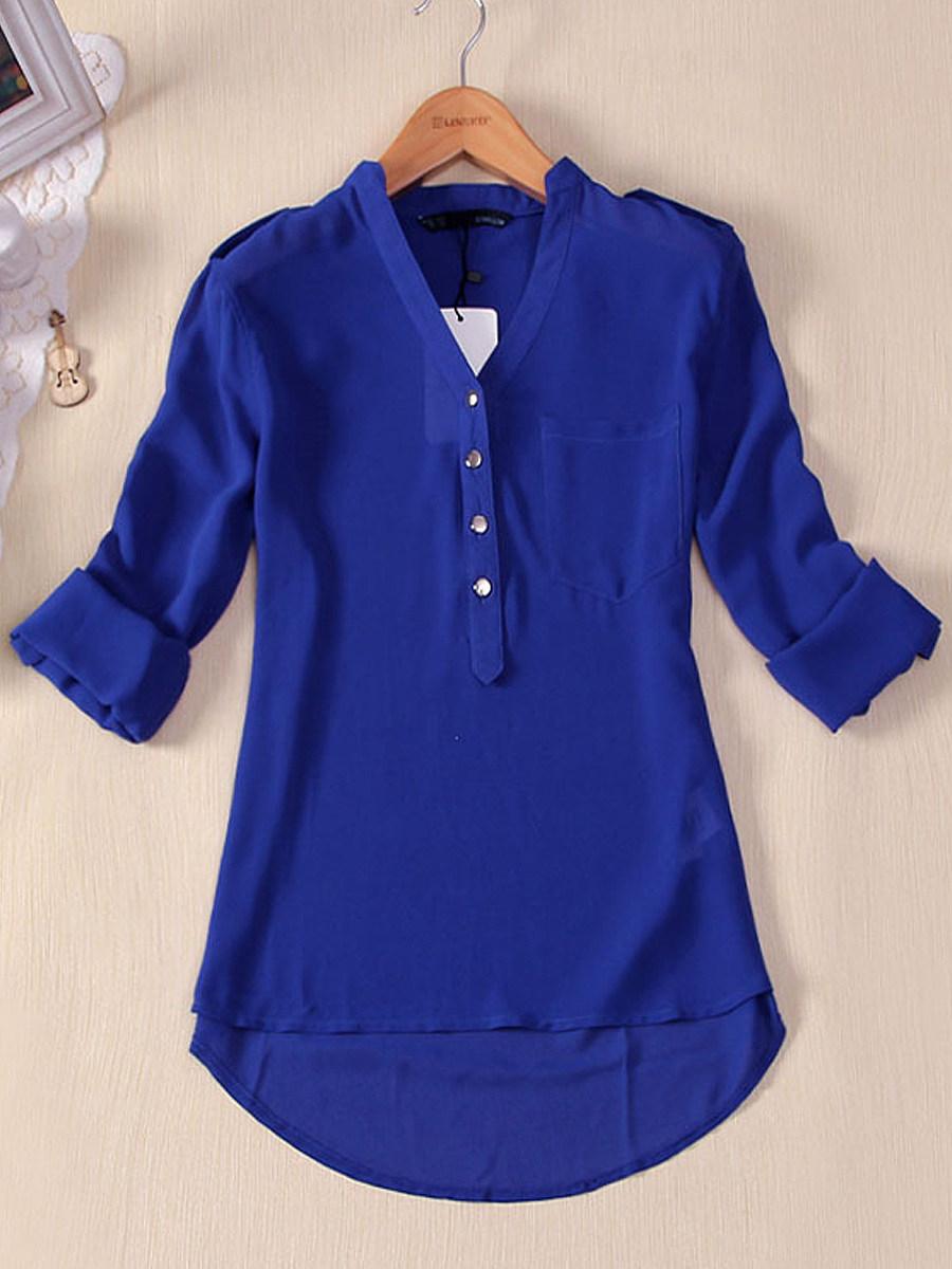 Autumn Spring  Polyester  Women  Decorative Button  Plain  Long Sleeve Blouses