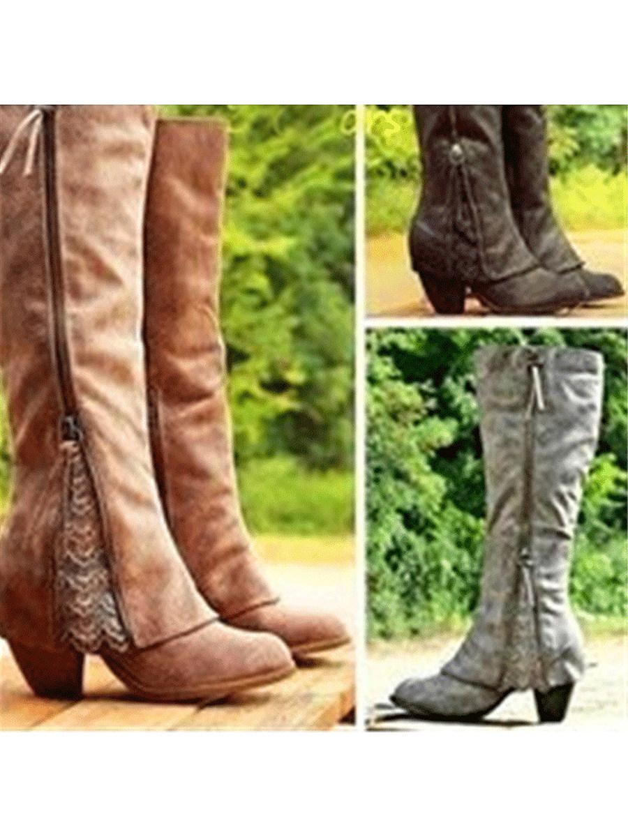 Plain  High Heeled  Round Toe  Date Outdoor  Knee High High Heels Boots