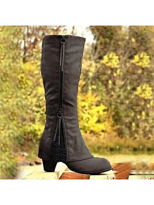 berrylook Plain High Heeled Round Toe Date Outdoor Knee High High Heels Boots