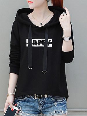 Hooded Drawstring Letters Long Sleeve Hoodies