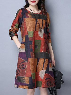 Round Neck Color Block Printed Pocket Shift Dress, 3794261