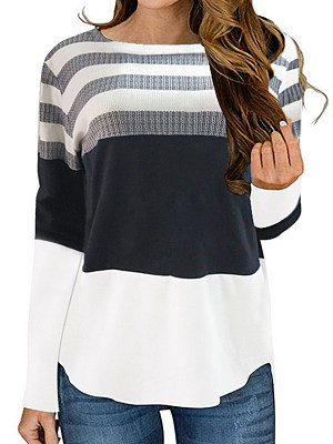 Round Neck Patchwork Casual Striped Long Sleeve T-Shirt фото
