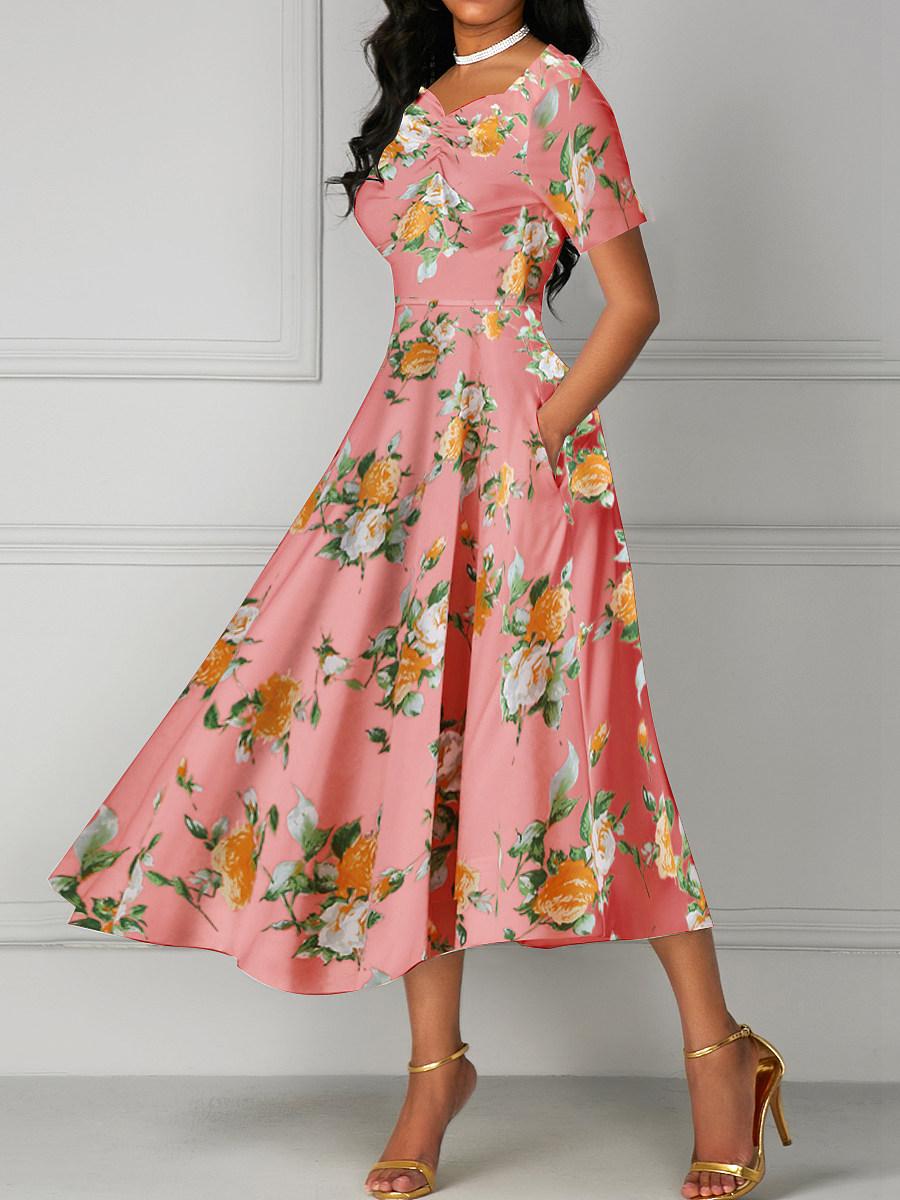 Sweet Heart Date Fashion Printed Maxi Dress