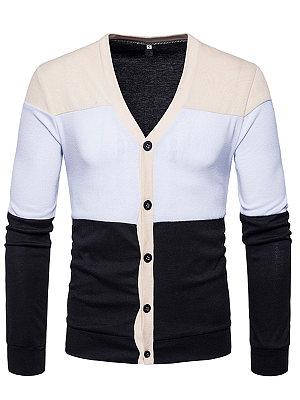 Color Block Single Breasted Men'S Cardigan