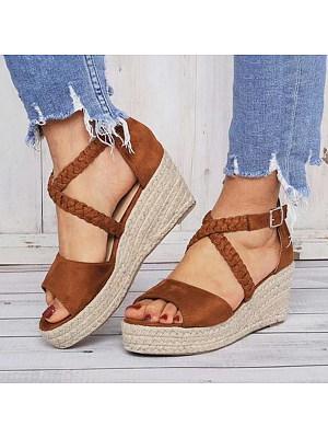 Plain Velvet Peep Toe Date Wedge Sandals, 6715391