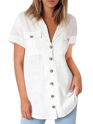 Notch Lapel  Loose Fitting  Plain Blouses
