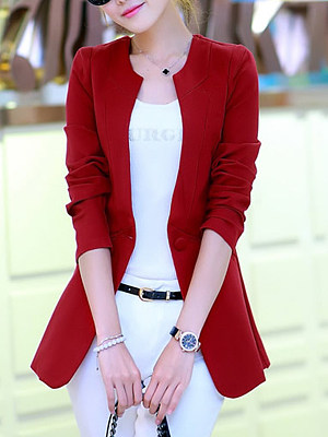 Collarless Single Button Plain Pocket Blazer