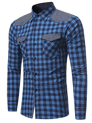 Flap Pocket Color Block Plaid Men Shirts фото
