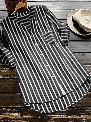 V Neck Loose Fitting Stripes Blouses, 6491226