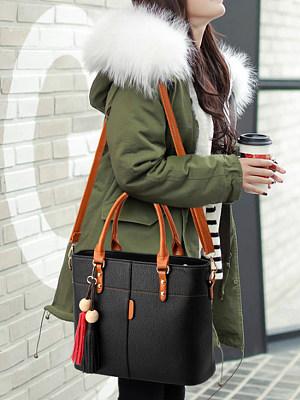 Color Block Long Tassel Shoulder Bag