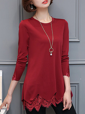 Round Neck Patchwork Elegant Lace Plain Long Sleeve T-Shirt, 9717821
