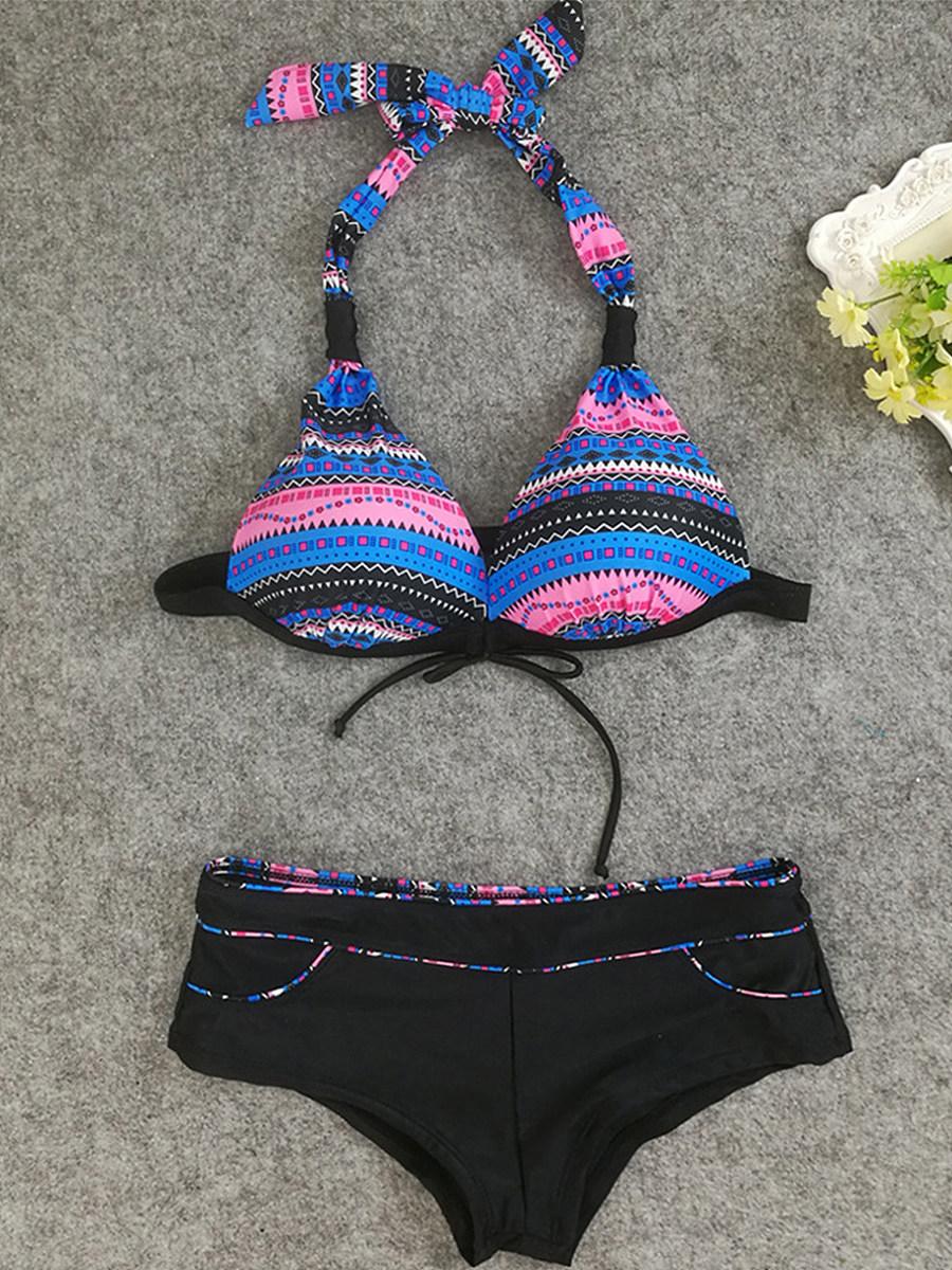 Halter  Bowknot  Print Bikini