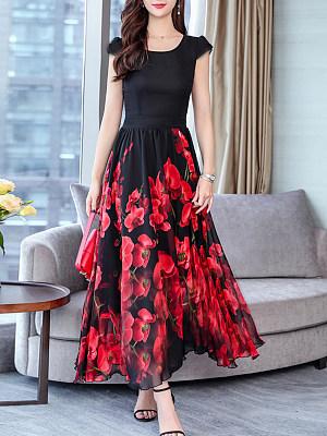 Round Neck  Floral Maxi Dress