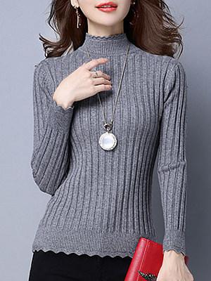 Short High Collar  Brief  Plain  Long Sleeve  Knit  Pullover