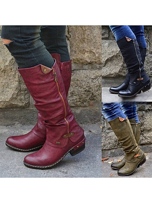 Distressed Chunky Round Toe Boots фото
