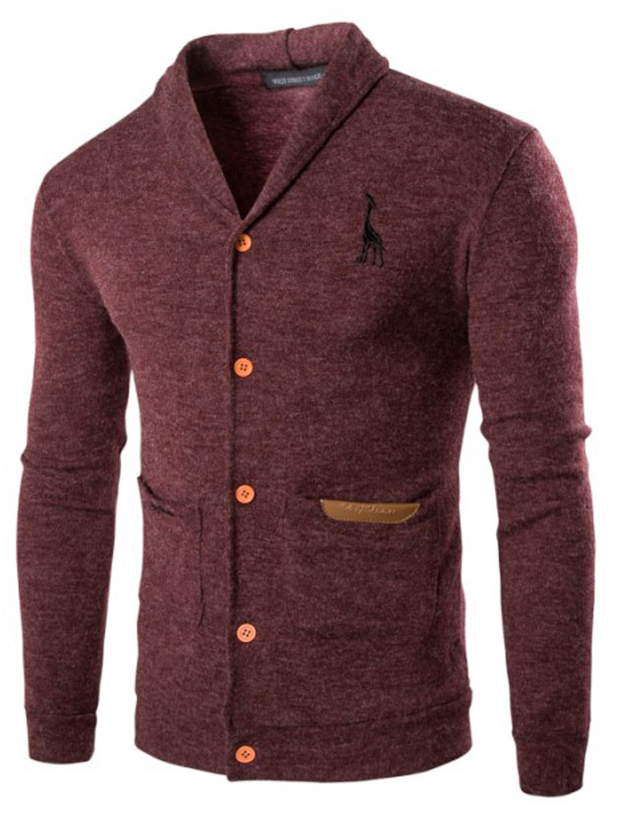 Shawl Collar Patch Pocket Single Breasted Men Cardigan