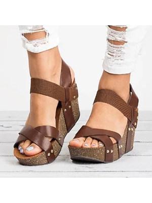 Plain  High Heeled  Ankle Strap  Peep Toe  Date Wedge Sandals