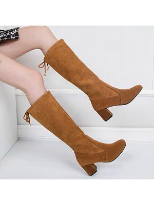 BERRYLOOK / Plain High Heeled Velvet Round Toe Date Outdoor Knee High High Heels Boots