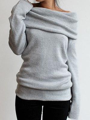 Casual Multi-Way Plain Sweatshirt фото