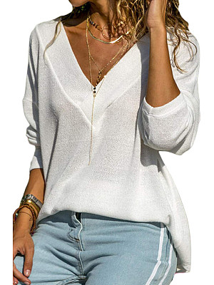BERRYLOOK / V Neck  Patchwork  Casual  Plain  Long Sleeve T-Shirts
