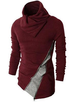 Cowl Neck Color Block Asymmetric Hem Men'S Knitwear