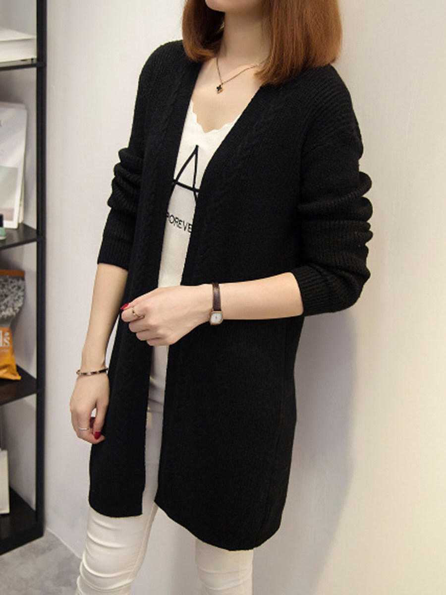 Collarless  Plain Rib Knit Cardigan