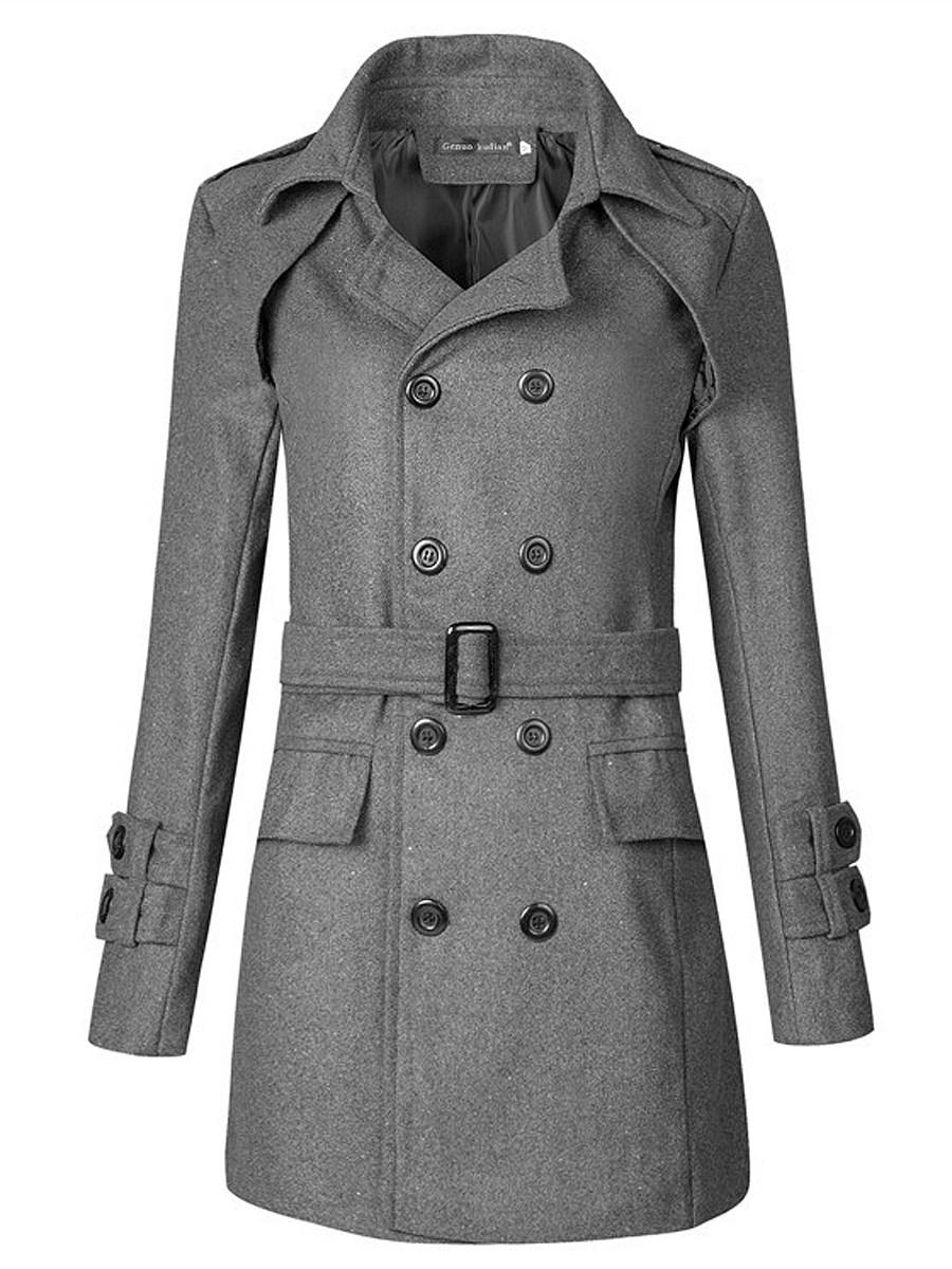 Lapel Double Breasted Flap Pocket Belt Plain Men Woolen Coat