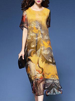 Round Neck  Print Maxi Dresses