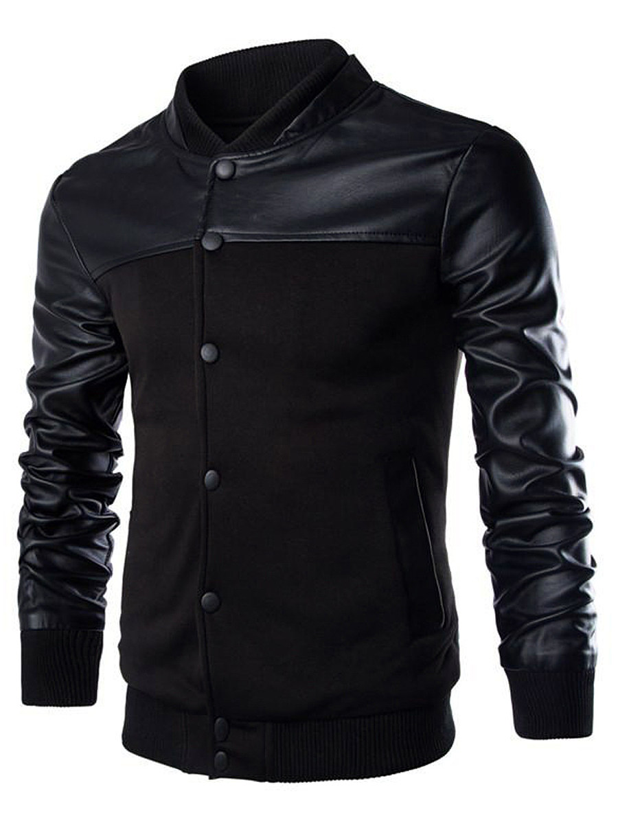 BerryLook Men Band Collar Patchwork Single Breasted Pocket Jacket