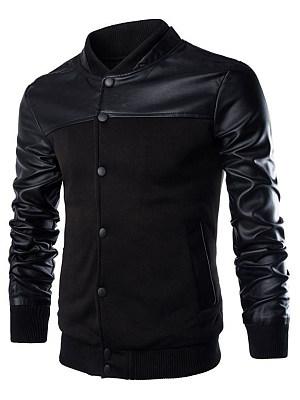 Men Band Collar Patchwork Single Breasted Pocket Jacket
