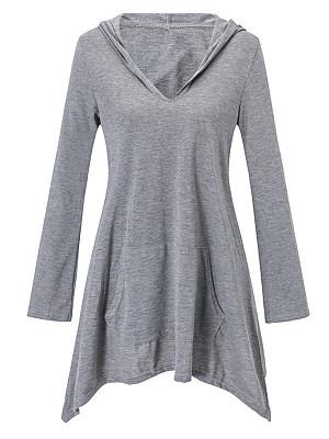 Hat Collar Patchwork Casual Plain Long Sleeve T-Shirt, 9120186