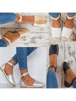 Plain  Flat  Ankle Strap  Round Toe  Casual Date Flat Sandals