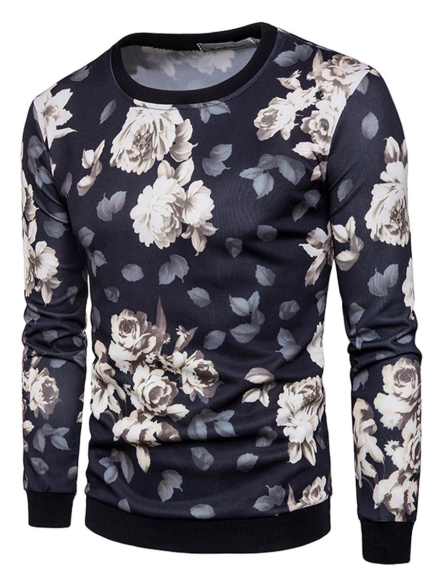Men Floral Printed Round Neck Sweatshirt