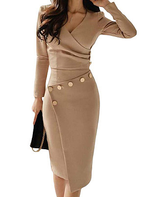 Save 55% on Surplice Ruched Single Breasted Decorative Button Plain Bodycon Dress