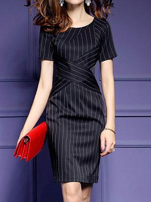 Round Neck Vertical Striped Bodycon Dress, 4476678