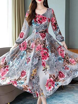Early Autumn Mountain Tea Print Long Sleeve Large Swing Dress Long Skirt Maxi Dress, 8070885