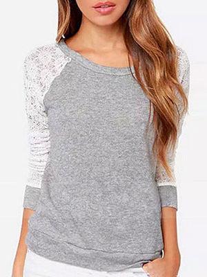 Round Neck  Decorative Lace  Back Hole  Plain  Long Sleeve Long Sleeve T-Shirts