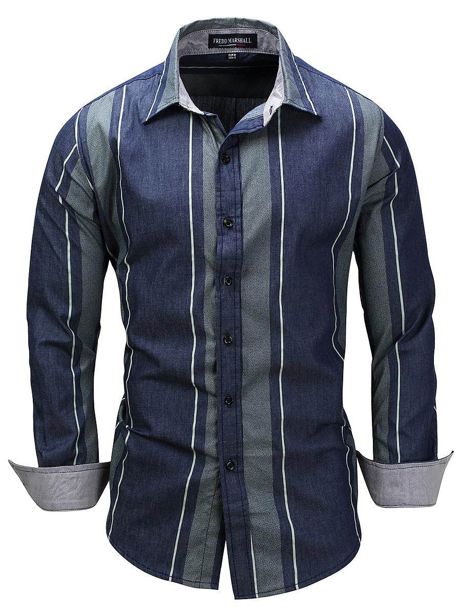 Turn Down Collar Vertical Striped Men Shirts